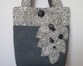 Grey Handmade Womens Tote Bag, Blue Shoulder Handbag, Large Tote Bag, Travel Tote, Blue Handbag, Shoulder Bag, Fabric Tote Bag, Handmade Bag