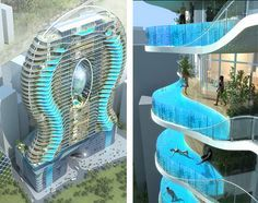 Bandra Ohm Tower    Imagine having a pool for a balcony. That's the promise of this spectacular residential building designed by James Law Cybertecture for Parinee Developers, featuring cantilevered pools hanging out on the edge of the wild blue yonder.