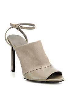 Vince - Grace Leather Ankle-Strap Mules