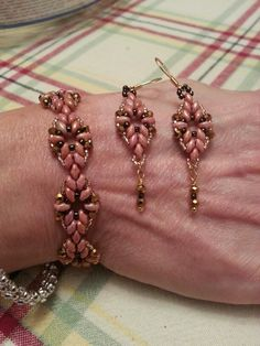 Super duo bracelet and earring set. Made from a pattern from Off The Beaded Path. :)