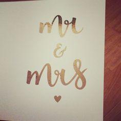 a little brush lettering copper card for a wedding this weekend ❤️ . #lettering  #handlettering #wedding #mrandmrs #metallic #foiling #madebylouie #bespoke #yorkshire #countrywedding #love #brushlettering #bride #groom