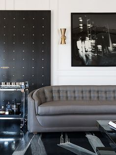 the new glam - tailored textiles, brass accents, and striking art + details.    #livingroom