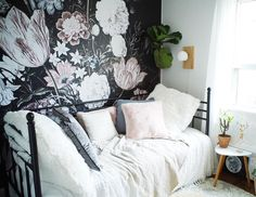 Vintage Floral Art Wallpaper | Removable Wallpapers • Peel and stick wall murals • Temporary wall covers • Easy stick wall paper • COLORAYDECOR.com