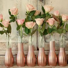 pink, rose gold and gray decor ideas | Rose Gold vases, gold wedding decor, Set of 6 rose gold dipped bud ...