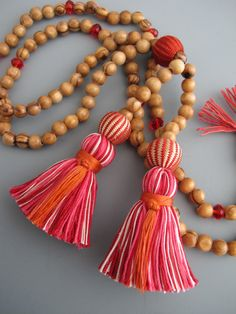 Double Tassel Long Tassel Necklace Red & Pink by TheRainbowFarmer