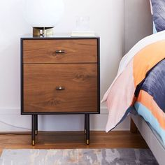 Modernist Wood + Lacquer Nightstand - Anthracite