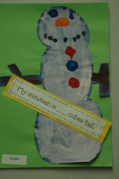 My snowman is ___ cubes tall.  (Measurement activity)