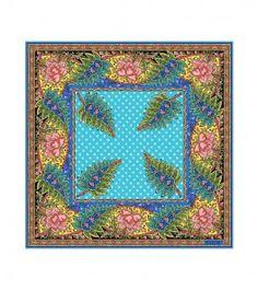 "Foulard coton ""Tropiques"" bleu"