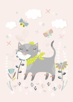 Petite Louise poster cat with flowers