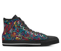 Psychedelic Fashion Doodle Trippy Zen LSD Womens High Top Shoe Printed Sneakers
