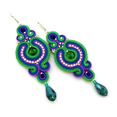 Christmas gift for wife  Soutache earrings  birthday by SaboDesign