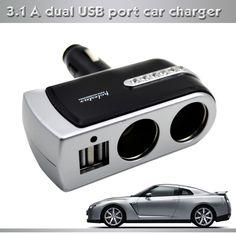 New 2 USB Car Charger Supply Double Sockets electronic Cigarette Lighter splitter Extender Splitter Adapter car USB socket  8056