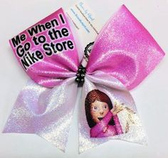 Bows by April - Me When I Go to The Nike Store Emoji Pros Pink and White Cheer Bow, $15.00 (http://www.bowsbyapril.com/me-when-i-go-to-the-nike-store-emoji-pros-pink-and-white-cheer-bow/)