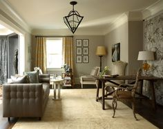 Benjamin Moore Revere Pewter walls looks great with warm wood tones and yellow,