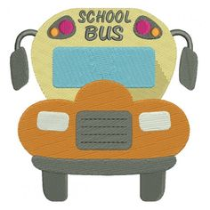 Big School Bus Filled Machine Embroidery Design Digitized Pattern #school #embroidery #applique #bus