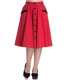 Hell Bunny 50s Retro Polka MARTIE Skirt Rockabilly Skirt ~ Red All Sizes - See more at: http://45.gs/dl32