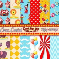Digital paper Circus -  12 pcs 300dpi (paper crafts, card making, scrapbooking) - Personal and Commercial use