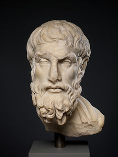 Marble head of Epikouros, 2nd century A.D.. Roman. The Metropolitan Museum of Art, New York.