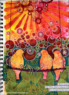 Happy art journal-Carabelle-BirgitKoopsen-final page - with picture step by step