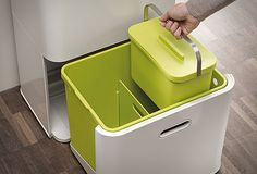 Totem waste bin designed by PearsonLloyd for Joseph Joseph Recycling Bin Storage, Trash And Recycling Bin, Trash Bins, Storage Bins, Food Storage, Kitchen Waste, Smart Kitchen, Joseph Joseph Bin, Kitchen