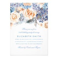 #Blue and Peach Watercolor Florals Birthday Party Card - #birthday #gift #present #giftidea #idea #gifts
