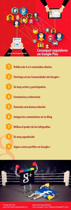 Cómo conseguir seguidores en Google + #infografia