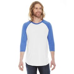 American Apparel Unisex Wht/Hth Lke Blu Poly-Cotton Baseball Raglan Tee