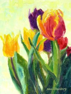 """Tulip Painting Floral Painting Original Oil Painting """"Tulip Fest"""" by KimStenbergFineArt, $100.00"""