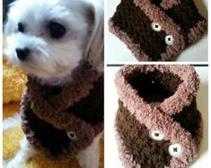 Crocheted Small Dog Puppy scarf fits most S or M dogs