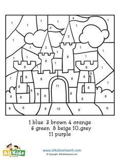 Castle Color by Number Color Worksheets For Preschool, Preschool Coloring Pages, Preschool Learning, Preschool Activities, Preschool Kindergarten, Activity Sheets For Kids, Coloring Sheets For Kids, Castle Coloring Page, Princess Activities