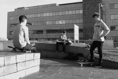 The crew, skateboarding the other day in Cardiff.