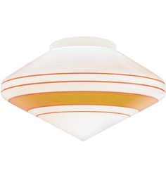 """Different Shades Of Orange classic 16"""" opal schoolhouse shade with hand-painted celery stripe"""