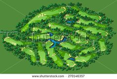 Golf course map. Resort layout with flags trees plants water hazards. Vector map isometric illustration