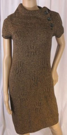 """JONES WEAR DRESS"" BROWN COTTON BLEND SWEATER DRESS - PLEASE SEE ALL PICTURES"