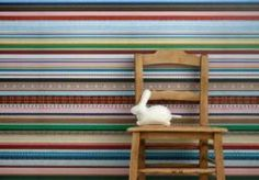 After the successful scrapwood wallpaper, Studio Ditte brings new inspiration for your walls: wallpaper ribbon colorful. The Pattern Collective. New Wallpaper, Colorful Wallpaper, Eclectic Wallpaper, Striped Wallpaper, Amazing Wallpaper, Nursery Wallpaper, Feature Wallpaper, Unique Wallpaper, Wallpaper Samples