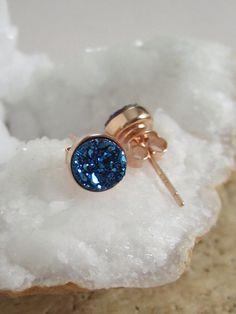 NEW Blue Druzy Rose Gold Studs Titanium Drusy by julianneblumlo