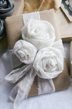Fabric flowers & brown paper