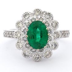 Oval Cut Emerald & Diamonds Engagement Ring EMR104
