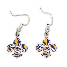 """LSU Tigers """"Fleur de lis"""" Dangle Earrings"""