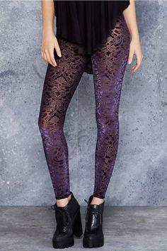 Burned Velvet Jewel Leggings - Limited