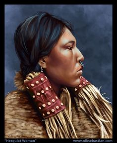 Native American Hesquiat Woman Original Digital by NikSebastianArt, $25.00