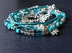 Turquoise Boho Wrap bracelet  Bohemian Leather and Turquoise