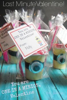 You are One in a MINION, Valentine! Easy and last minute Valentines for the class party.