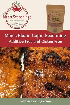 Blazin Cajun Seasoning with a spicy kick. This is a blend of spices including paprika, cayenne, garlic & habanero to name a few. It also has a hint of brown sugar, salt and pepper. Our Blazin Cajun Seasoning doubles as a quality meat rub which makes it an all-purpose spicy seasoning. Mae's Blazin Cajun Seasoning explodes with robust flavours. Eliminate the guesswork and choose Mae's Blazin Cajun spice combinations that are made with no artificial preservatives. Cajun Cooking, Cooking 101, Spicy Recipes, Salmon Recipes, Spice Combinations, Spicy Appetizers, Meat Rubs, Natural Spice, Cajun Seasoning
