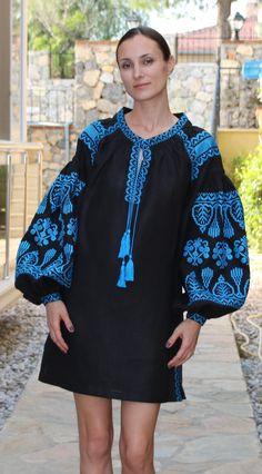 Black Vita Kin style linen TUNIC vyshyvanka dress blue Embroidery. Sizes - XS-XXL TN017