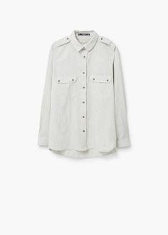 Camisa algodão bolsos | MANGO