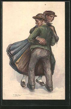 schöne Künstler-AK Fritz Reiss: Tanzpaar in Schwarzwälder Tracht 1911 FOR SALE •…