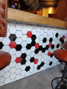 Custom hexagon tile   LeCoq Restaurant Madrid (Spain) Hexagon Tiles, Terracota, Bespoke, Madrid, Spain, Kids Rugs, Restaurant, Handmade, Home Decor