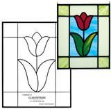 Free Tulip Pattern - Free from Glass Patterns Quarterly A beautiful flower pattern perfect for a stained glass panel or small window. This free patter tiffanyglass Glass Painting Patterns, Stained Glass Patterns Free, Stained Glass Quilt, Stained Glass Flowers, Stained Glass Crafts, Faux Stained Glass, Stained Glass Designs, Stained Glass Panels, Mosaic Patterns
