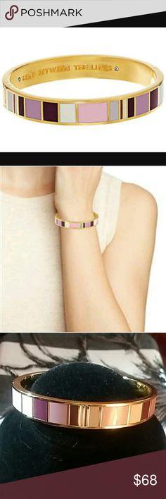 "Kate Spade Bangle ""Read Between The Lines"" Kate Spade ""Read Between the Lines""..Gold tone mauve-hued bangle bracelet. Polished mixed metal. Approximate diameter 2 1/2"" kate spade Jewelry Bracelets"